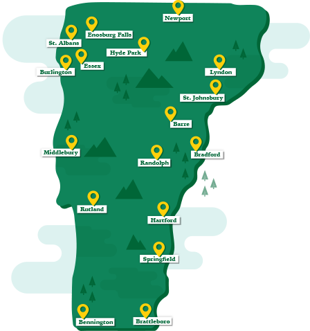 map of vermont with training center locations